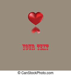 hjärta, röd, text