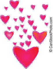 hjärta, ram, bakgrund