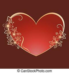 hjärta, ram, blomma, guld, format