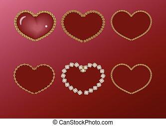 hjärta, ram, röd, guld