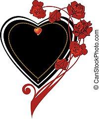 hjärta, ram, utsirad, ro