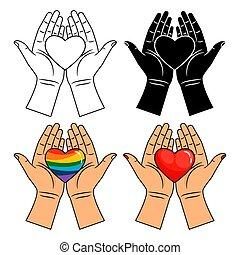 hjärta, regnbåge, ikonen, -, isolerat, färgrik, fodra, bakgrund, räcker, vit röd