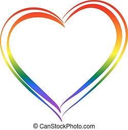 hjärta, regnbåge symbol, love., isolerat, lgbt