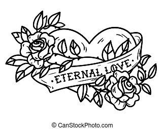 hjärta, ribbon., tatuera, ro, love., evinnerlig, roses., ...