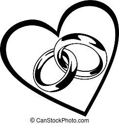 hjärta, ringa, bröllop