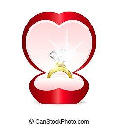 hjärta, ringa, gemstone, guld