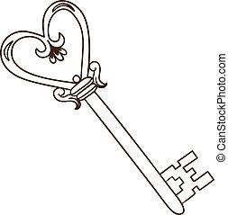hjärta, romantisk, format, isolerat, white., nyckel