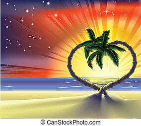 hjärta, romantisk, träd, palm, illustration, strand
