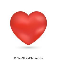 hjärta, romantisk, valentinbrev, vektor, bakgrund, glänsande
