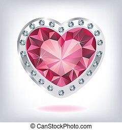 hjärta, rubin, diamanter