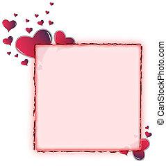 hjärta, rundat, ram, -, amaranth, röd