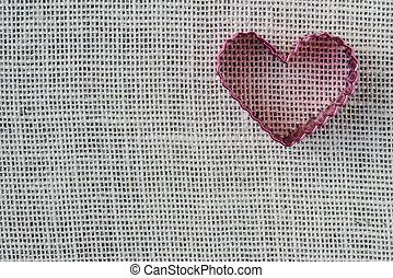 hjärta, säckväv, röd fond