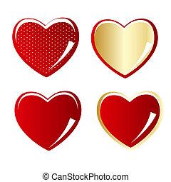 hjärta, sätta, guld, illustration, vektor, röd