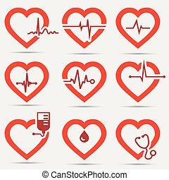 hjärta, sätta, ikon