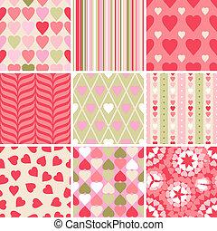 hjärta, sätta, valentinkort, patterns., vektor, 9, dag