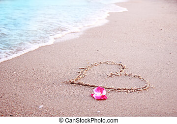 hjärta, sand, havsstrand