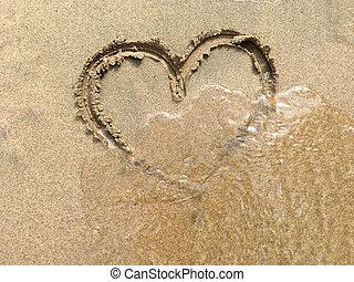 hjärta, sand strand, stor