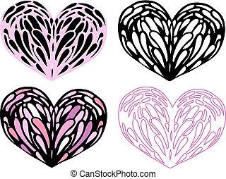 hjärta, set., illustration