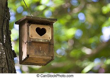 hjärta, shapped, entrance., fågelhus
