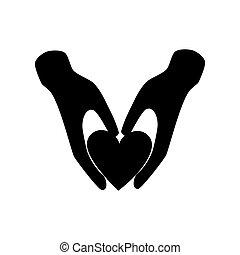 hjärta, silhuett, räcker