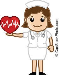 hjärta, sköta, -, medicinsk, holdingen