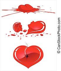 hjärta, skadat, mänsklig
