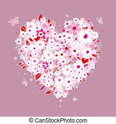 hjärta, skiss, form, design, blommig, din