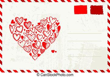 hjärta, skiss, text, kuvert, valentinbrev, plats, din, röd