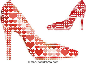 hjärta, sko, röd, mönster
