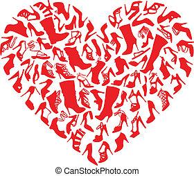 hjärta, skor, vektor, röd
