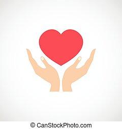 hjärta, skydda, hålla, hand