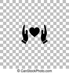 hjärta, skydda, mänsklig, lägenhet, gårdsbruksenheten räcker, ikon