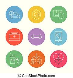hjärta, skydda, sätta, sheild, lungan, ikonen, mat, medicinsk, fitness, eps, vektor, lastbil, frukter