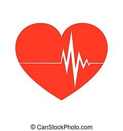 hjärta, skylt., vektor, illustration., hjärtslag