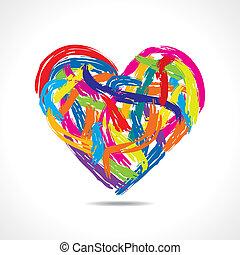 hjärta, slaglängder, färgrik, måla