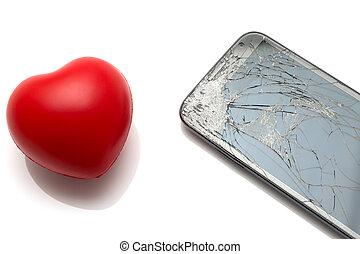 hjärta, smartphone, avskärma, isolerat, bruten, vit röd