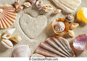 hjärta, sommar, sand, semester, form, tryck, vita strand