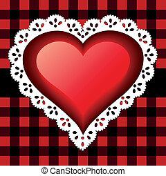 hjärta, spets, röd