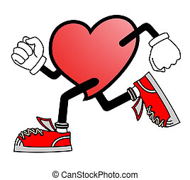 hjärta, springa
