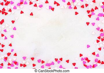 hjärta, stänk, över, valentinkort, godis, dag, bakgrund, strukturerad, vit, ram