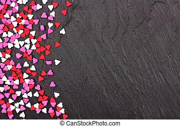 hjärta, stänk, över, valentinkort, godis, dag, svart fond, gräns, sida