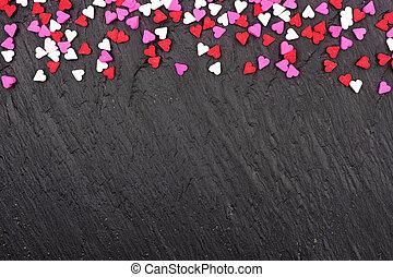 hjärta, stänk, över, valentinkort, godis, dag, svart fond, gräns, topp
