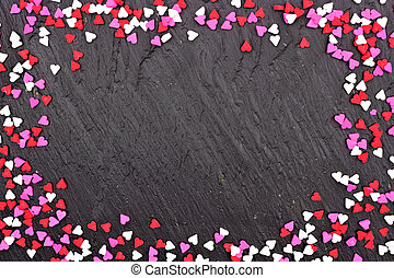 hjärta, stänk, över, valentinkort, godis, dag, svart fond, ram