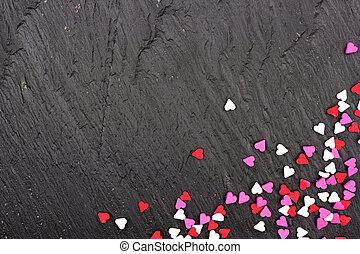 hjärta, stänk, över, valentinkort, godis, svart fond, hörna, gräns, dag