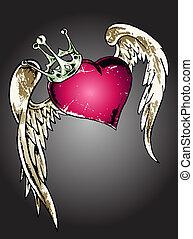 hjärta, stam, illustration