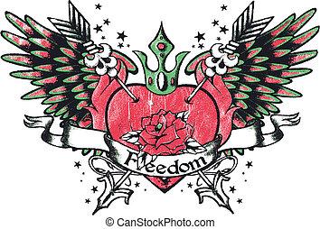 hjärta, stam, kunglighet, vinge