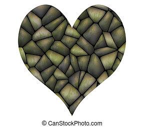hjärta, sten, vektor