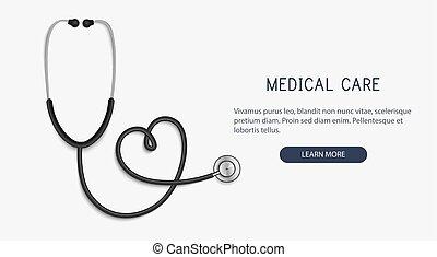 hjärta, stetoskop, form., hälsa, begrepp, vektor, omsorg, ...