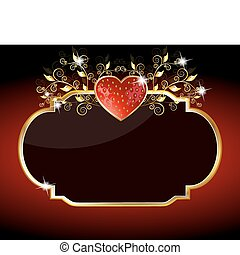 hjärta, stickande, jordgubbe