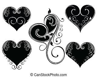 hjärta, stil, färg, årgång, illustration, valentinbrev, day., form, vektor, design, bakgrund, blommig, svart, vit, dekorerat, isloated